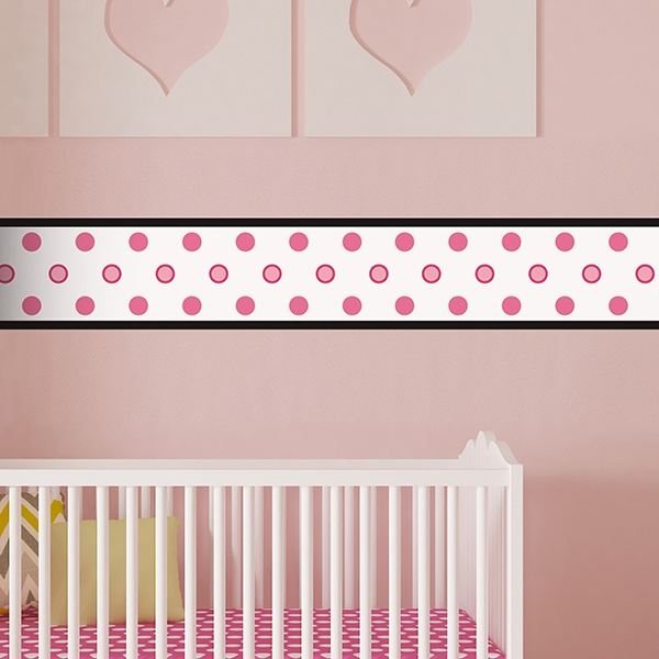 Stickers for Kids: Wall Border White with circles