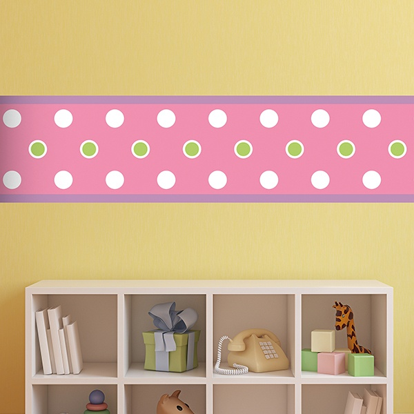 Stickers for Kids: Wall Border Pink with circles