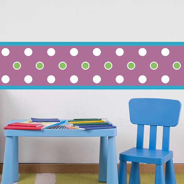 Stickers for Kids: Wall Border Purple with circles