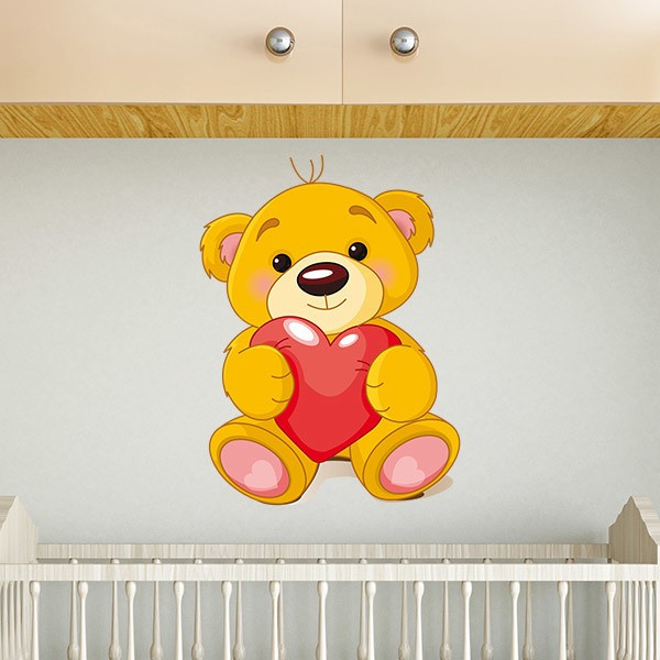 Stickers for Kids: Kids wall sticker bear and heart
