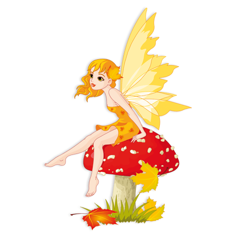 Stickers for Kids: Fairy Sitting on Mushroom