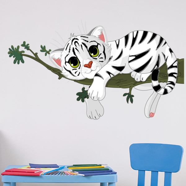 Stickers for Kids: White tiger cub on a branch