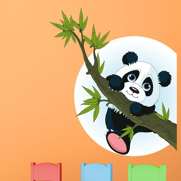 Stickers for Kids: Panda bear climbing