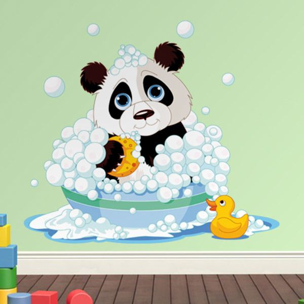 Stickers for Kids: Panda in the bathtub