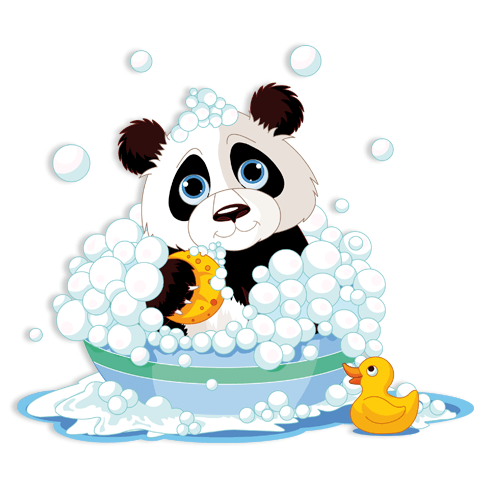 Stickers for Kids: Panda in the bathtub 0