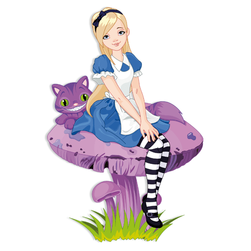 Stickers for Kids: Girl and cat on a mushroom