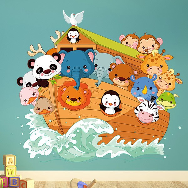 Stickers for Kids: The ark of Noah sailing