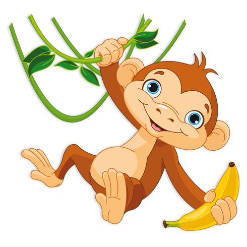 Stickers for Kids: Monkey with banana on the branch 0