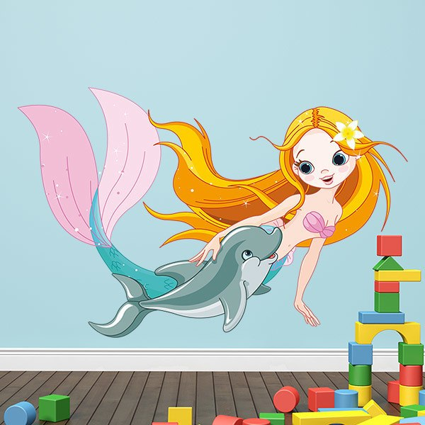 Stickers for Kids: Mermaid and dolphin swimming