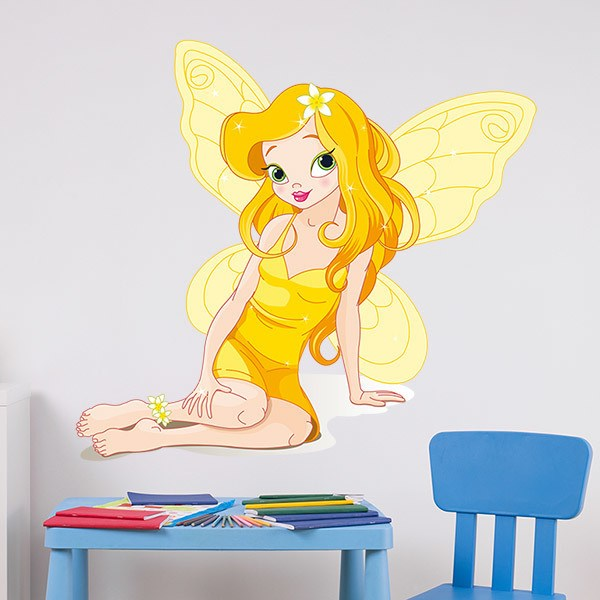 Stickers for Kids: Fairy butterfly yellow