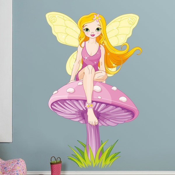 Stickers for Kids: Fairy Sitting on Mushroom 2