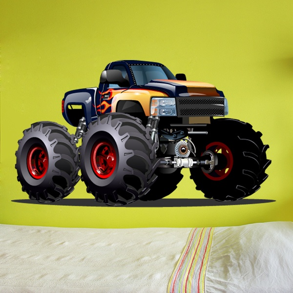 Stickers for Kids: Monster Truck dark blue and orange