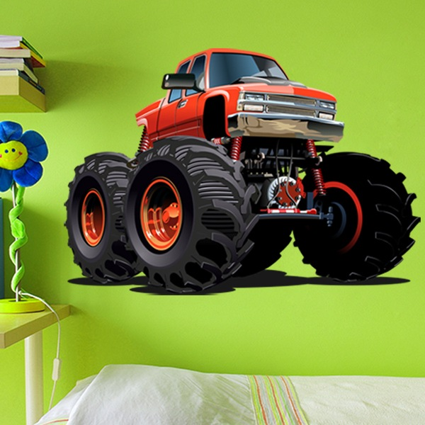 Stickers for Kids: Monster Truck ranchera orange