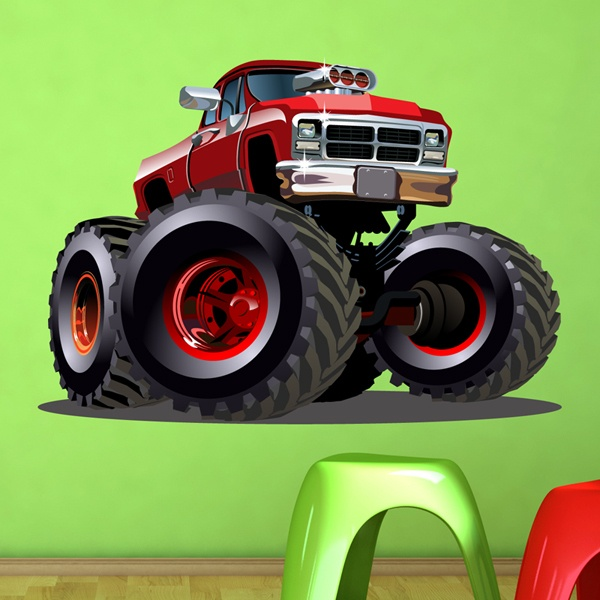 Stickers for Kids: Monster Truck ranchera red