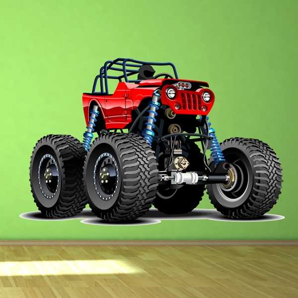 Stickers for Kids: Monster Truck Safari red