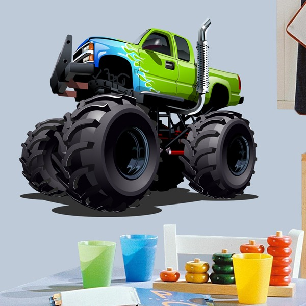 Stickers for Kids: Monster Truck green and blue