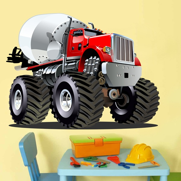Stickers for Kids: Monster Truck Concrete mixer