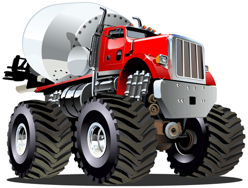 Stickers for Kids: Monster Truck Concrete mixer 0
