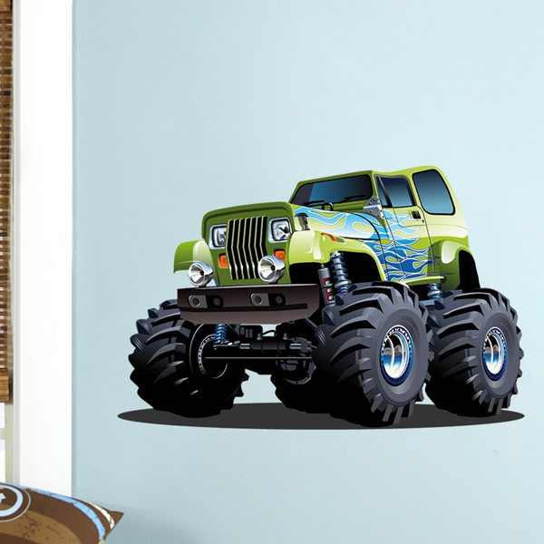 Stickers for Kids: Monster Truck green with blue flames