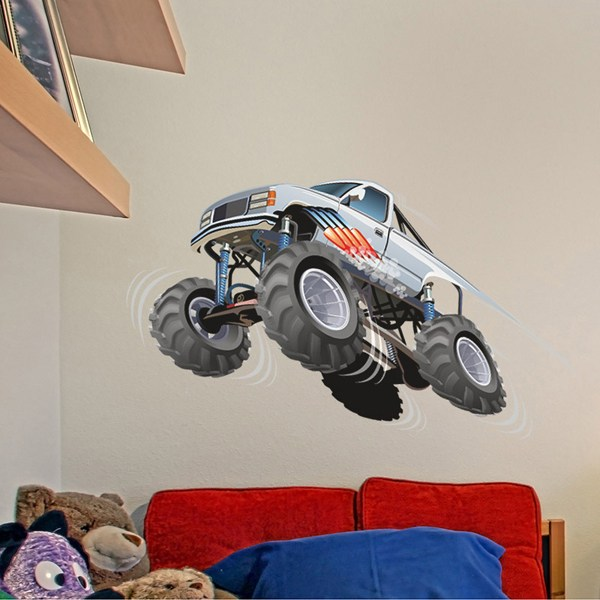 Stickers for Kids: Monster Truck white with jump