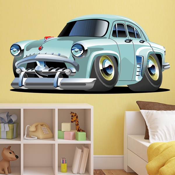 Stickers for Kids: Classic light blue car
