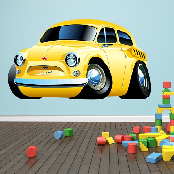 Stickers for Kids: Classic yellow car