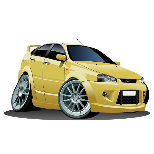 Stickers for Kids: Yellow car