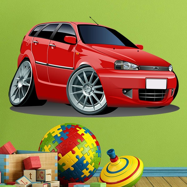 Stickers for Kids: Fiat red car