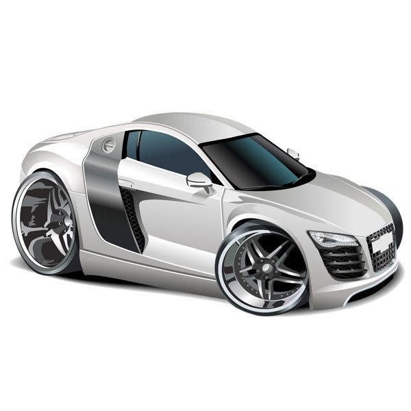 Stickers for Kids: White sports car 2