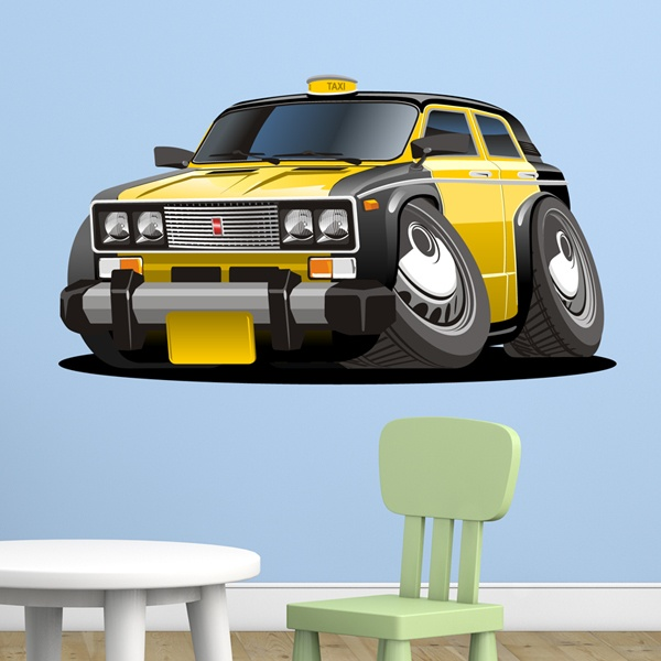 kids wall sticker yellow and black taxi | muraldecal