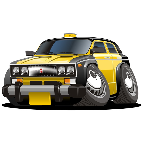 Stickers for Kids: Black and yellow cab