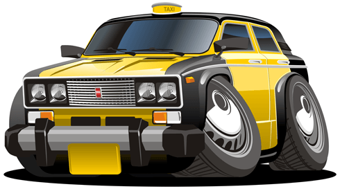 Stickers for Kids: Black and yellow cab 0