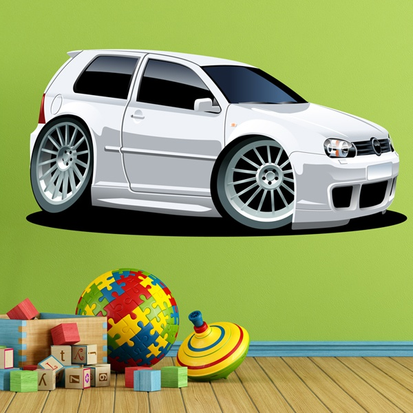 Stickers for Kids: White Volkswagen car