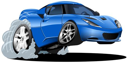 Stickers for Kids: Blue car speeding