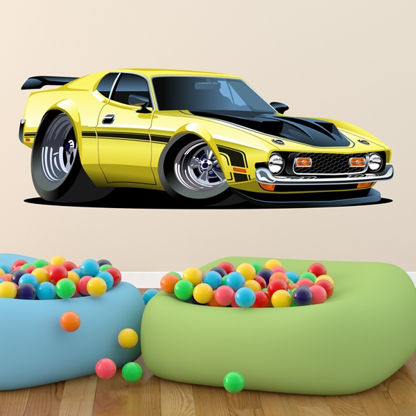 Stickers for Kids: Sports car yellow and black
