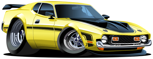 Stickers for Kids: Yellow sports car 0
