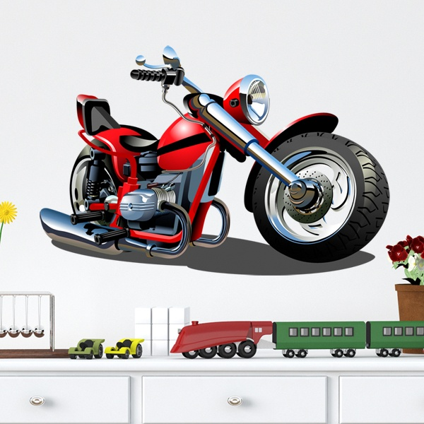 Stickers for Kids: Motorbike Harley red and black