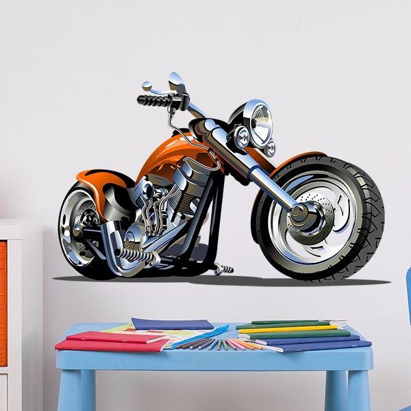 Stickers for Kids: Motorcycle Harley Orange