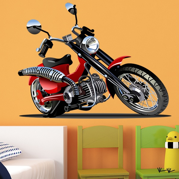 Stickers for Kids: Motorbike Harley Red