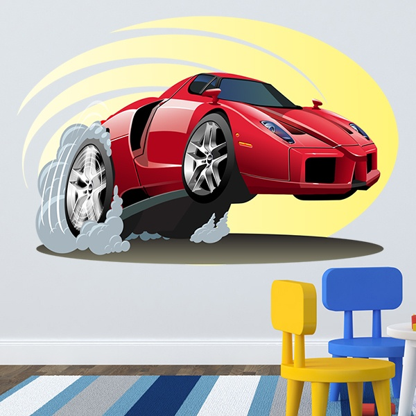 Stickers for Kids: Sports car accelerating