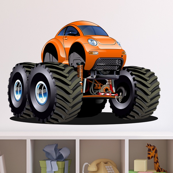Stickers for Kids: Monster Truck Orange Beetle