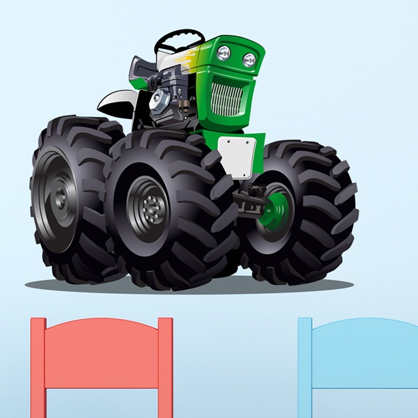 Stickers for Kids: Monster Truck Tractor