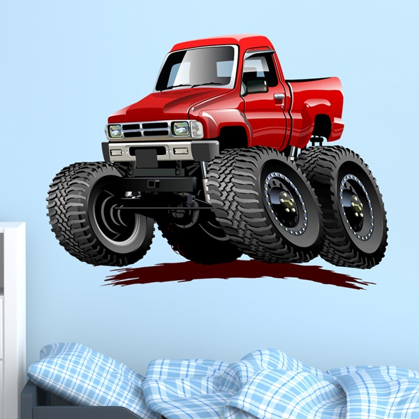 Stickers for Kids: Monster Truck pickup red