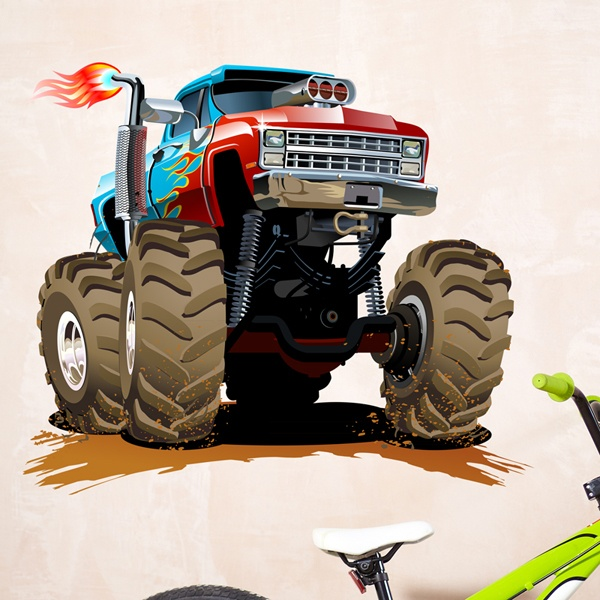 Stickers for Kids: Monster Truck blue and red