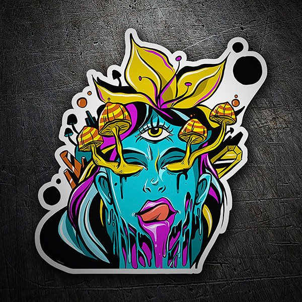 Car & Motorbike Stickers: The girl with the hallucinogenic mushrooms