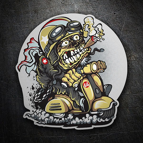 Car & Motorbike Stickers: Grunge biker