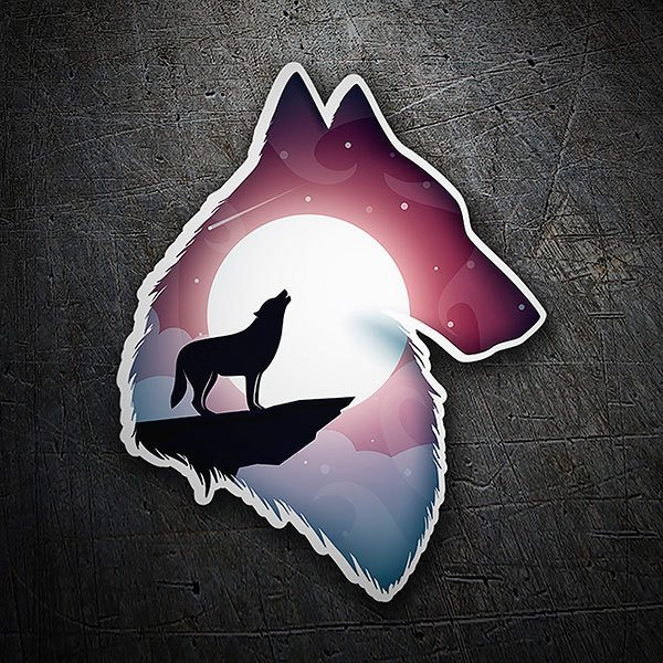 Car & Motorbike Stickers: Silhouette of wolf with landscape