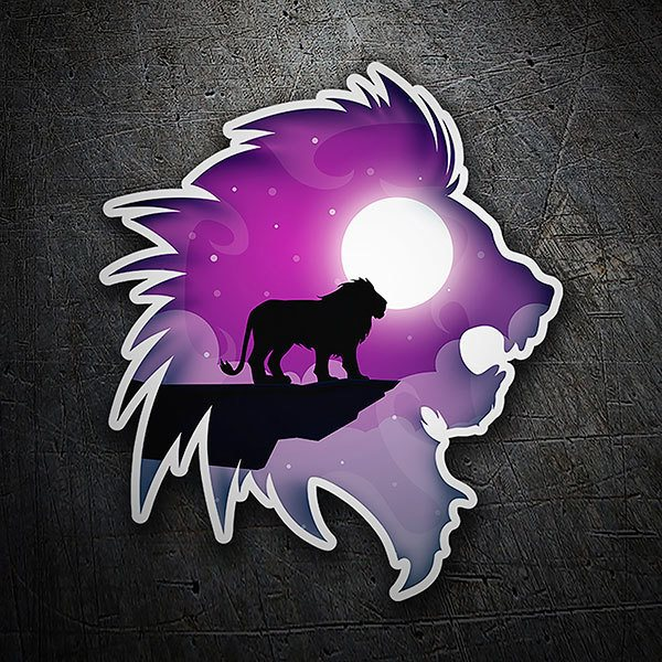 Car & Motorbike Stickers: Silhouette of lion with landscape