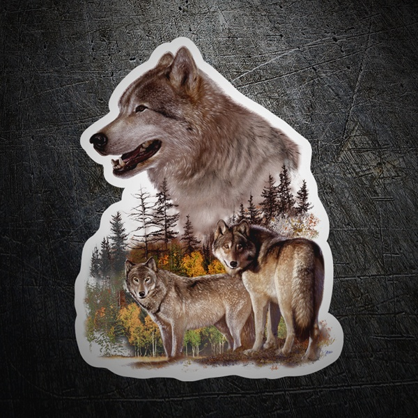 Car & Motorbike Stickers: Couple of wolves