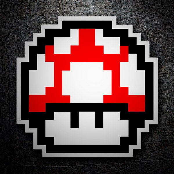 Car and Motorbike Stickers: Mario Bros Mushroom Red Pixel